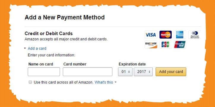 اضافة بطاقة دفع أمازون